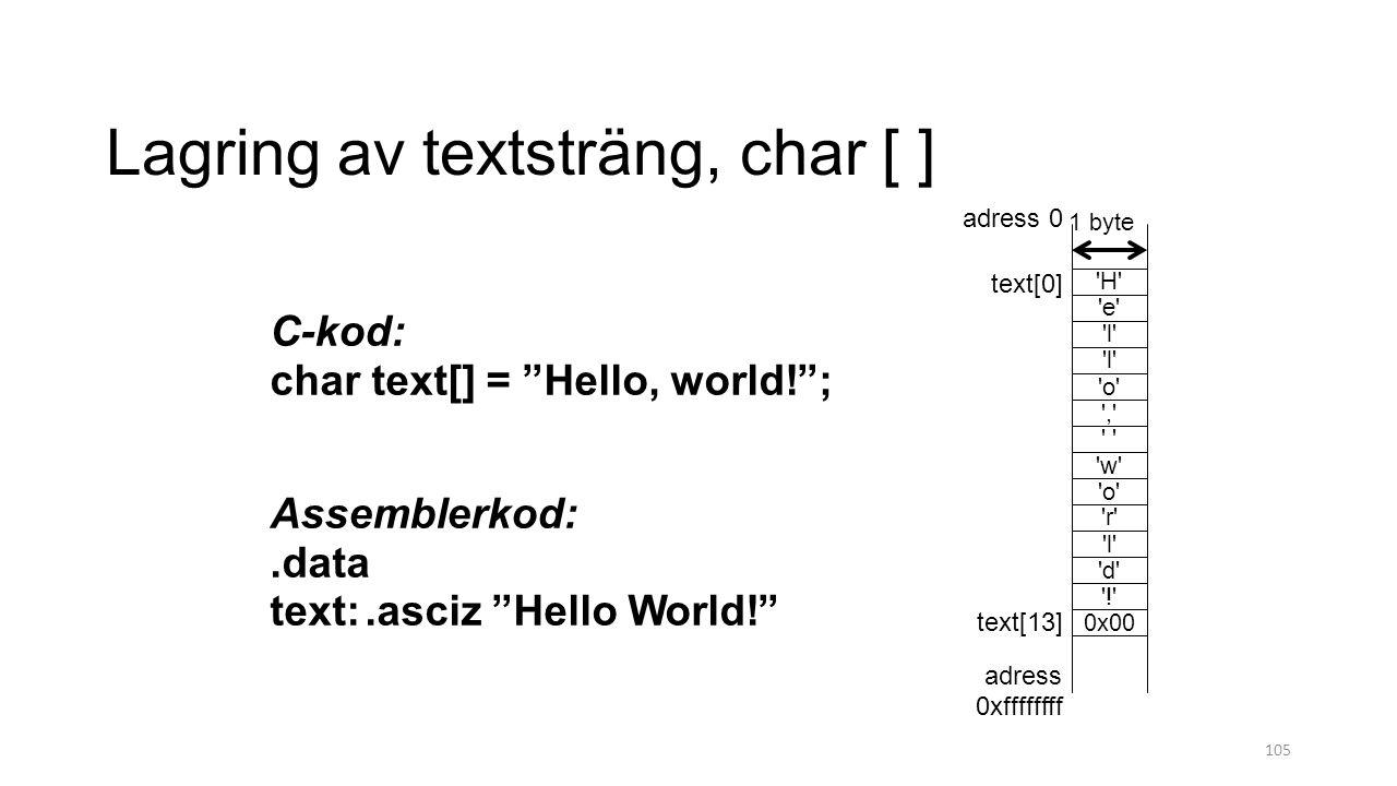 Lagring av textsträng, char [ ]